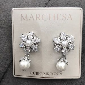 Marchesa cubic zirconia and pearl earrings